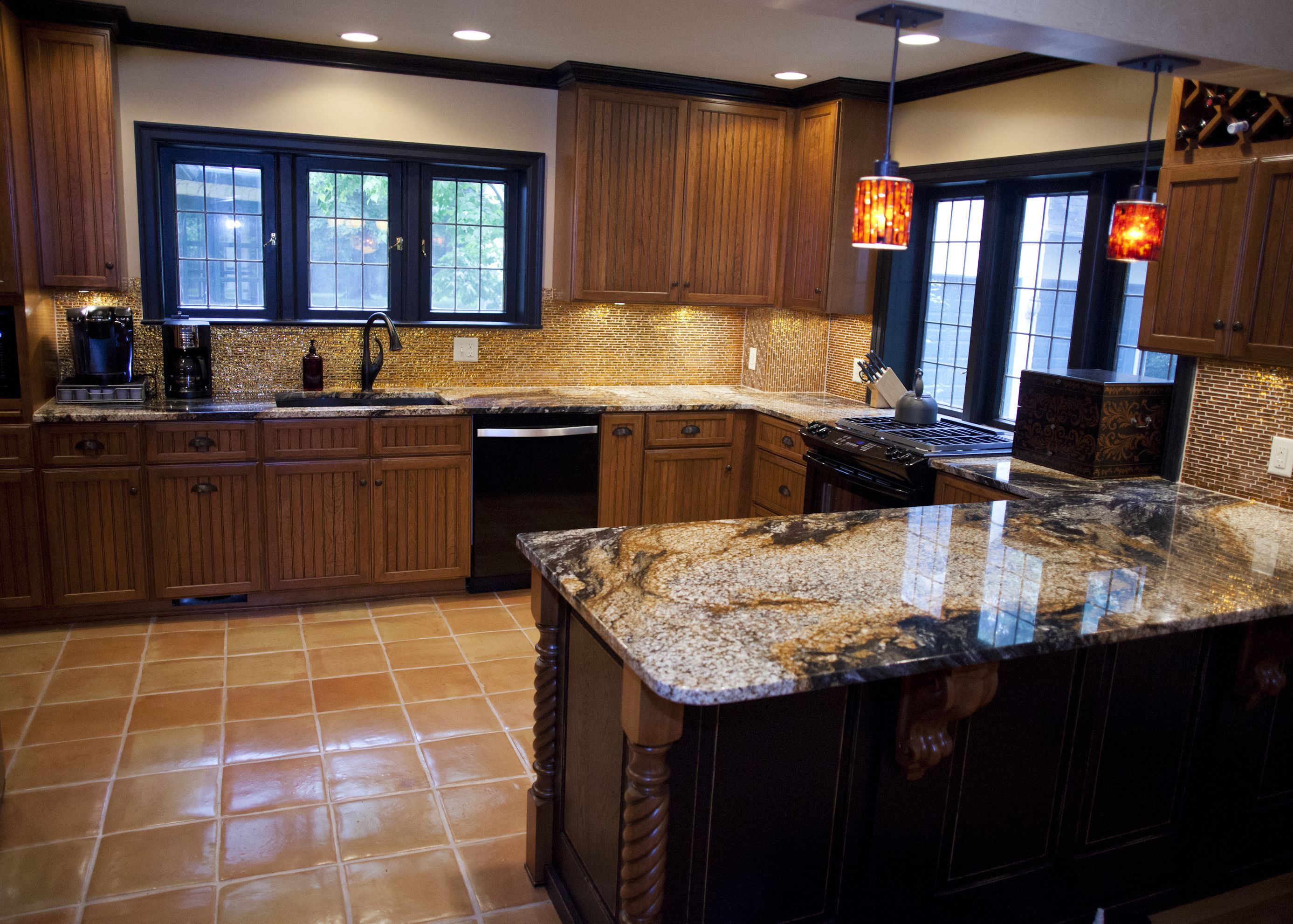 Two Toned Kitchen Cabinets Feature Pennington Door Style In Cherry With  Rustic Pebble Finish.