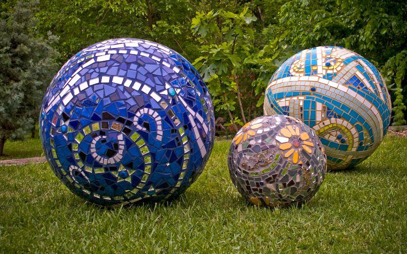 concrete balls with mosaics