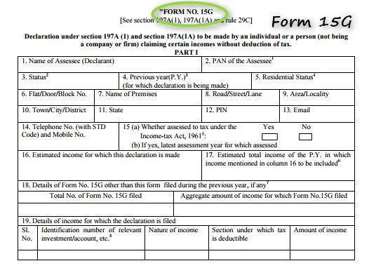 Form 15g How To Download Form 15g And Form 15h Online With