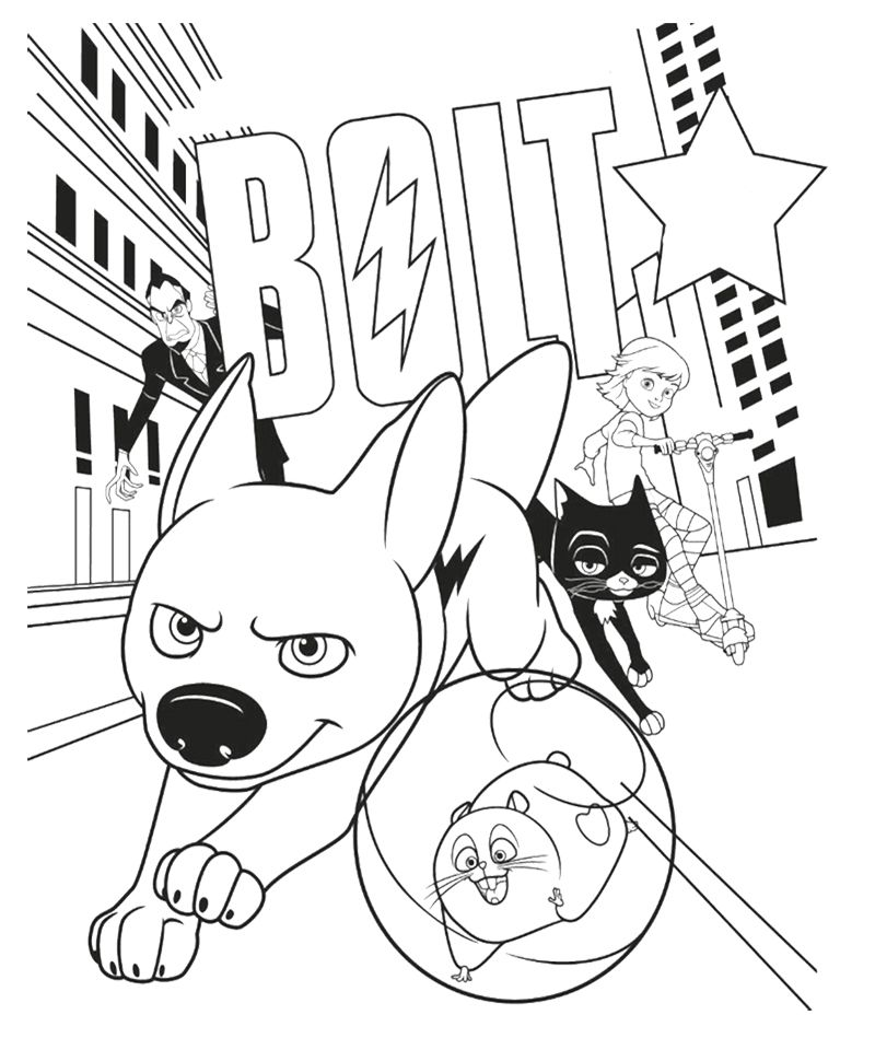 Enjoy this Bolt colouring in page in preparation for the 4pm movie