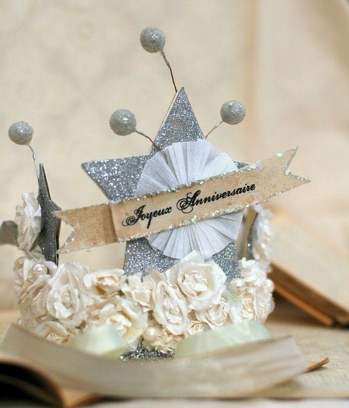 French Joyeux Anniversaire Happy Birthday Crown Yaya