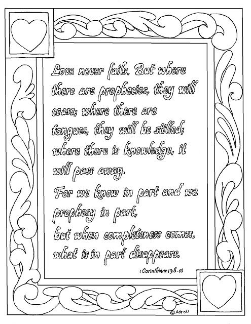 Free Printable 1 Corinthians 13 8 10 Coloring Page Coloring