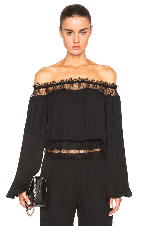 Image 1 of Tamara Mellon Off Shoulder Lace Insert Blouse in Black