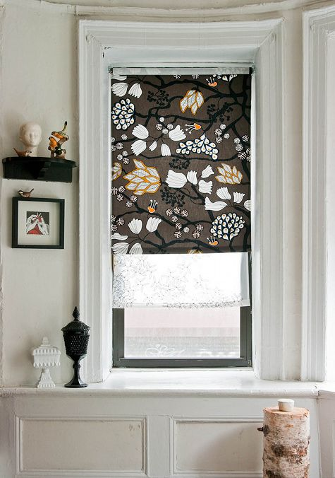 Buy a few yards of your favorite fabric and whip up these roller blinds courtesy of Design Sponge.