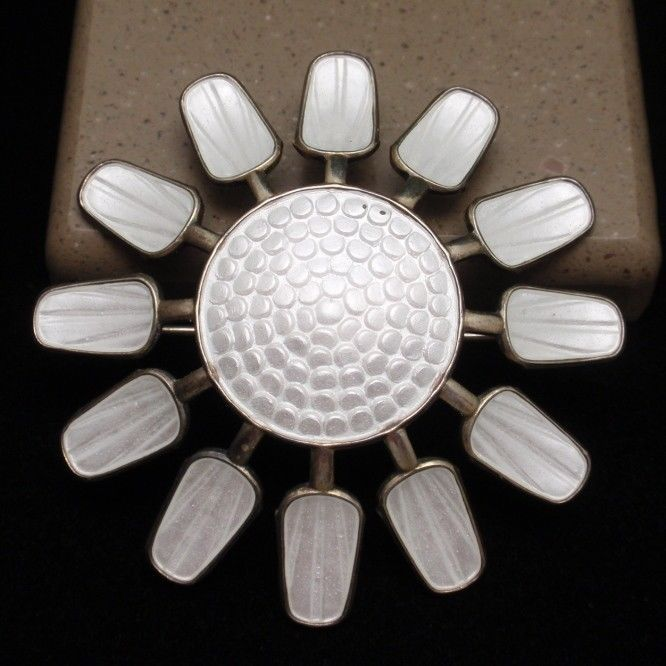 Flower Pin Sterling Silver Enamel Aksel Holmsen Norway Vintage White #AkselHolmsen
