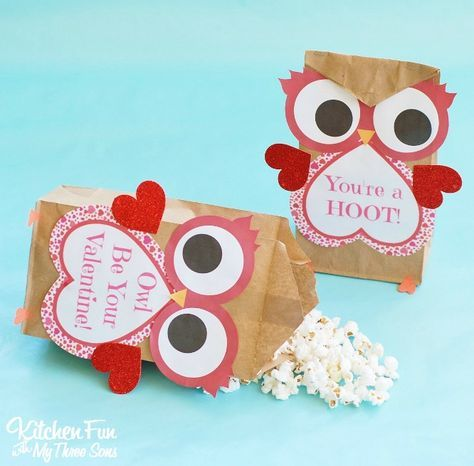 Valentine Owl Craft Paper Treat Bags With A Free Printable Owl