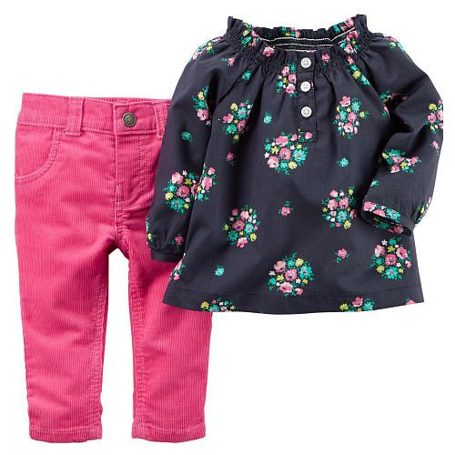 Carters Baby Girls 2-Pocket Stretch Flare Corduroys Pink 9 Months