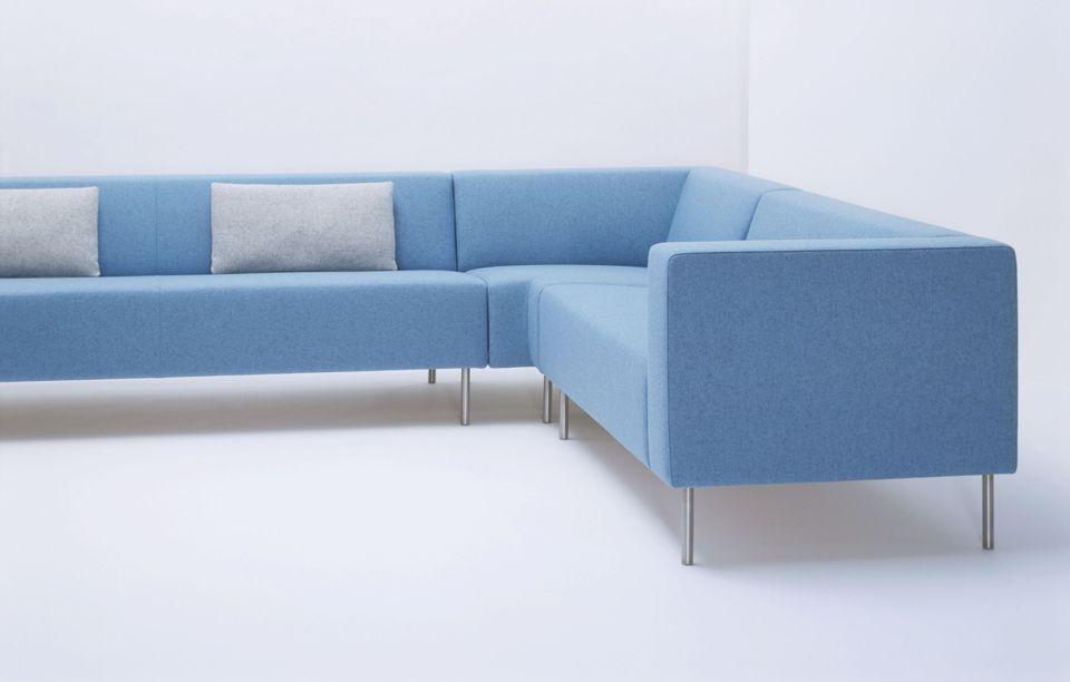 Minimalist Ice Blue Corner Sofa Layout With Pale Grey