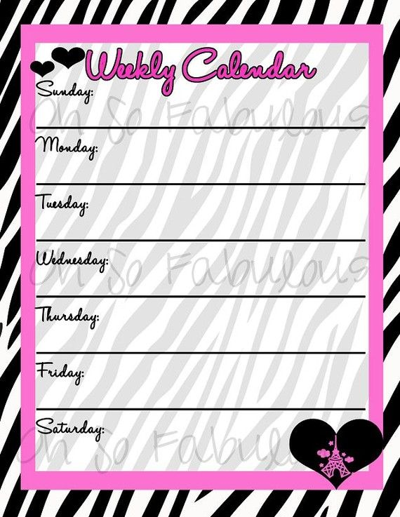 Printable Weekly Calendar Planner ToDo List  Pink And Zebra