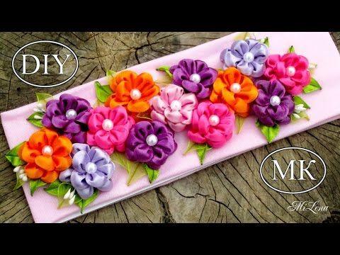 Diy Kanzashi Flower Flower Kanzashi Hand Madelazo Pap Monos Con - Como-hacer-lazos-para-diademas