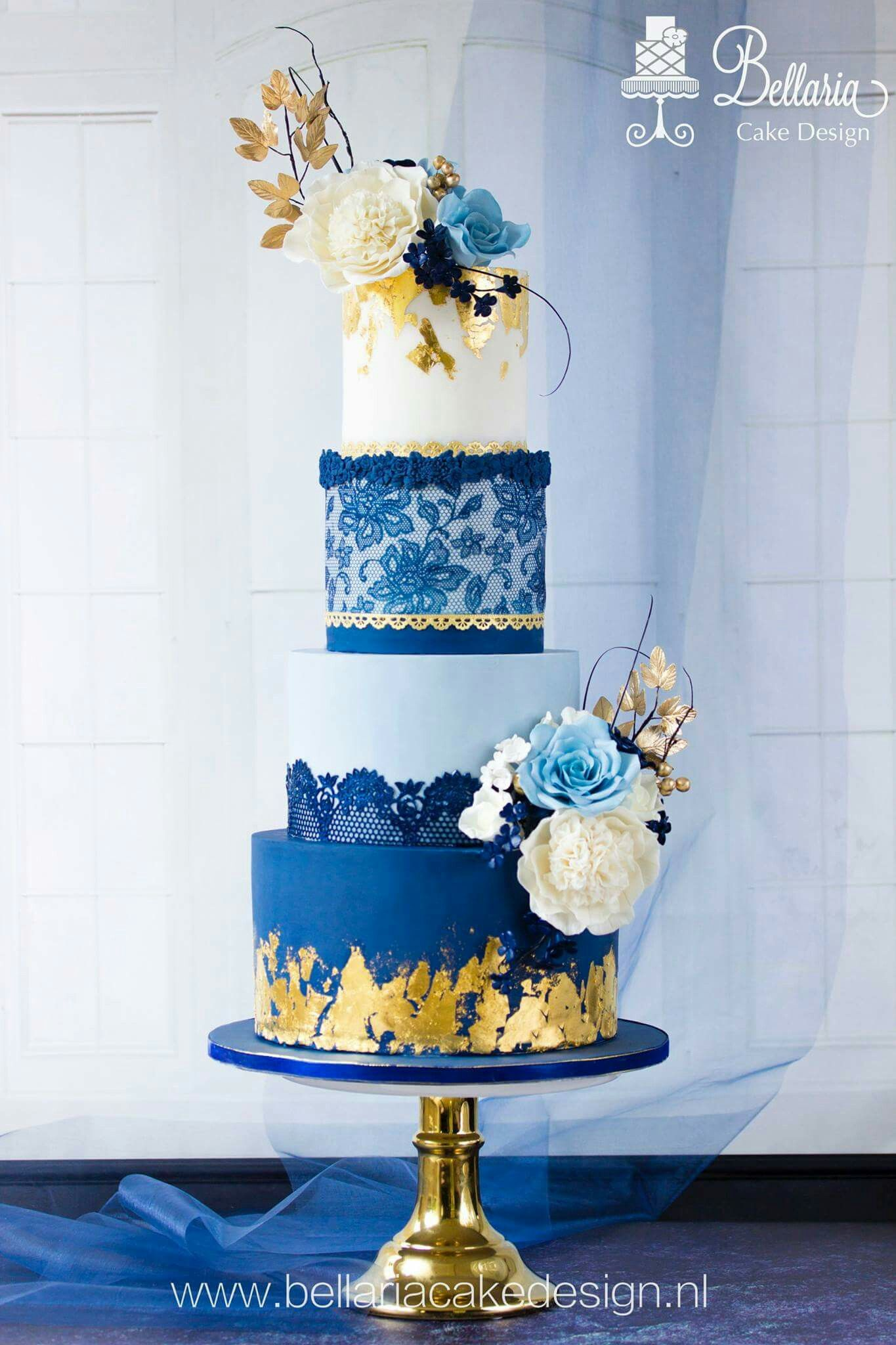 Navy Blue And Gold Wedding Cake Wedding Cake Navy Navy Blue