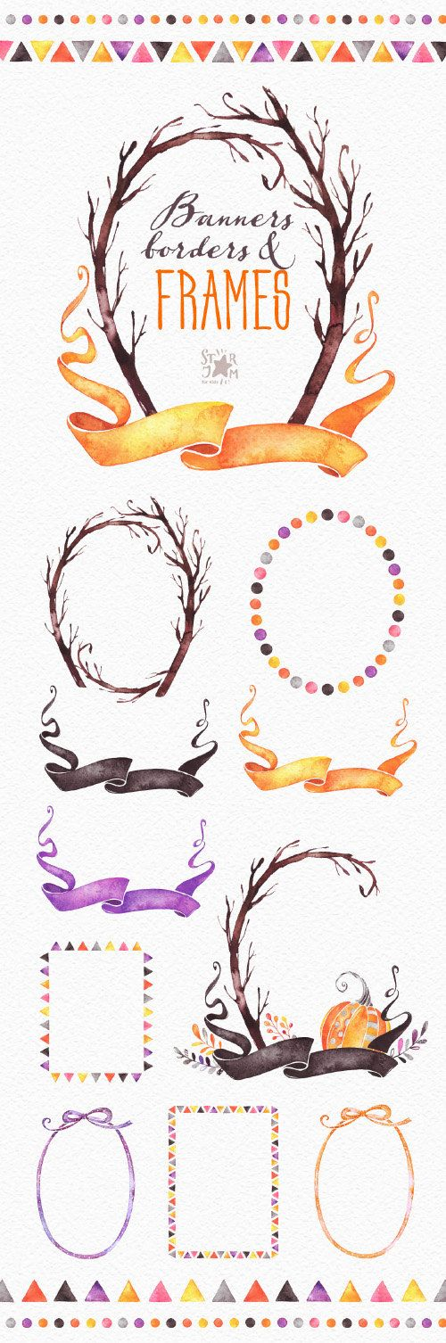 Frames, Banners & Borders. Fall and Halloween clipart, thanksgiving ...