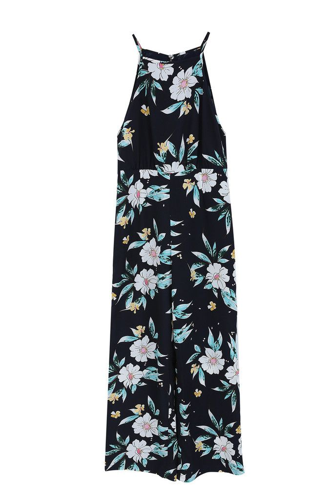 e0b6d1ad0eb FRNCH navy wide leg jumpsuit with oriental inspired floral design. Spaghetti  straps and wrap side detail.