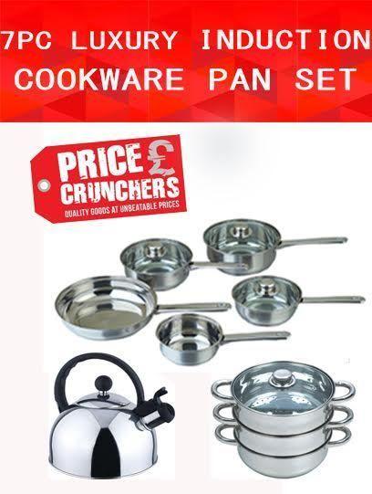 7 Pc Cookware Steamer Kettle Set Saucepan Frying Pan Pot