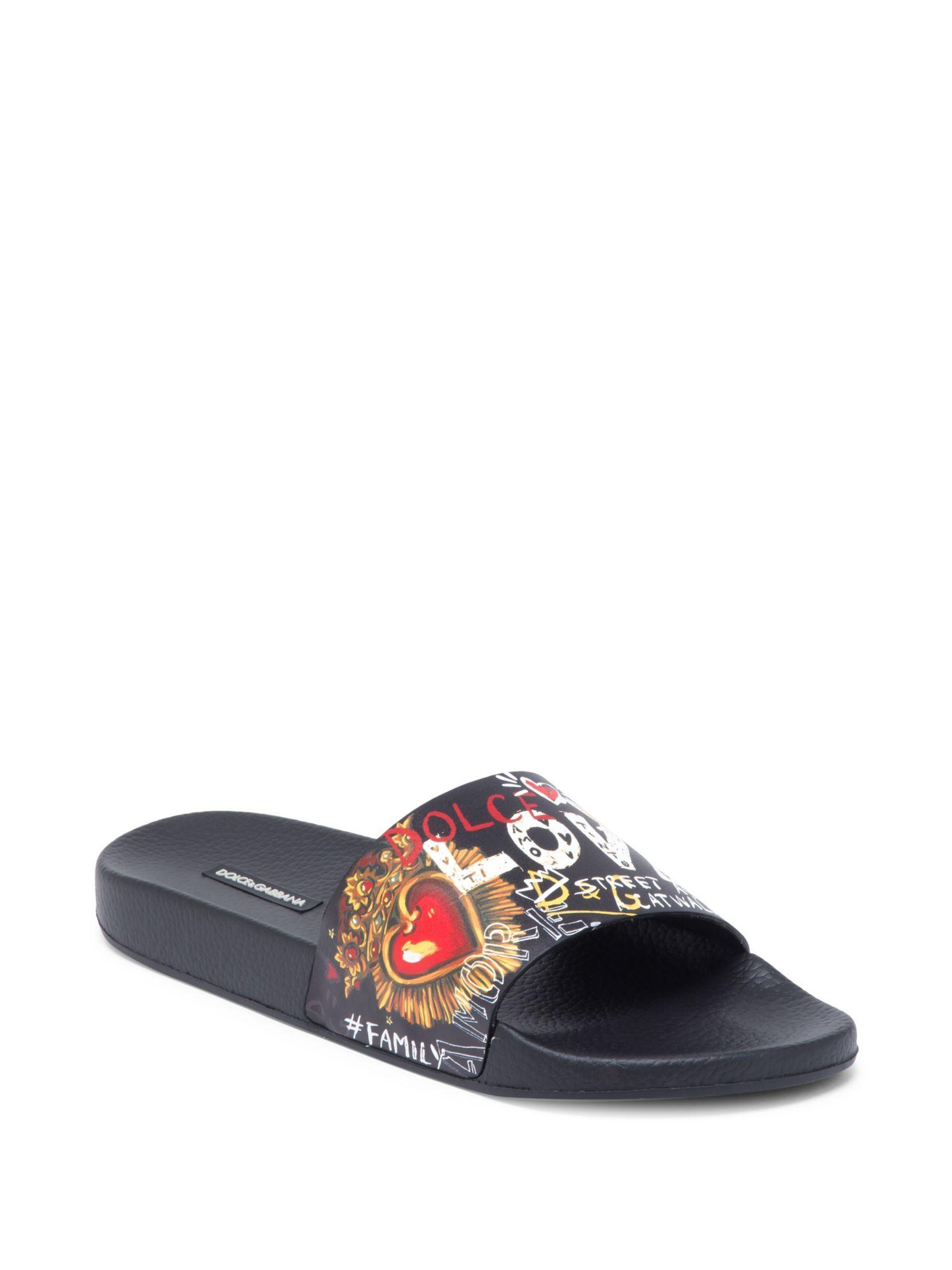 Dolce & Gabbana Artwork Leather Slides KX1taAEl5