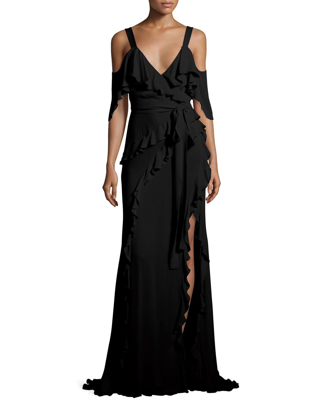 Elie Saab Ruffled Cold Shoulder Wrap Gown, Black | Wrap tie