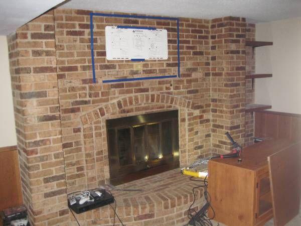 Brick Fireplace Designs Photos Tv Mount Onto Brick Fireplace