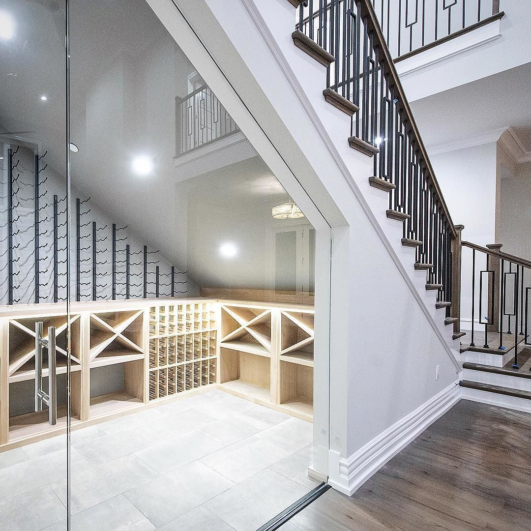Elegant Wine Room Below The Stairs   Sherwood Development Company   #wine  #vino #