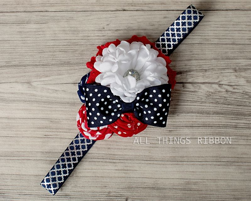Red White and Navy Headband 4th of July Headbands