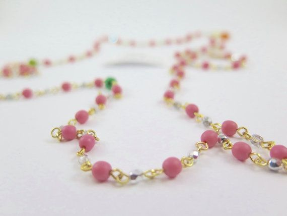 Delicate boho Czech Glass Bead Chain Necklace Crystal by Rubari
