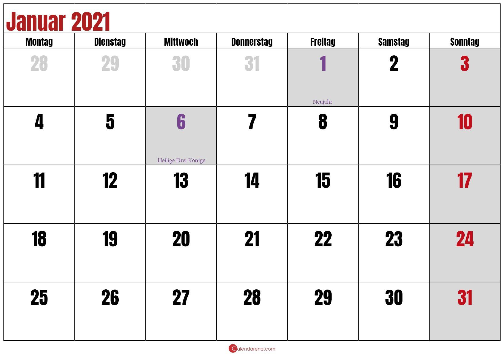 Kalender Januar 2021 Pdf Kalender Januar Monatskalender