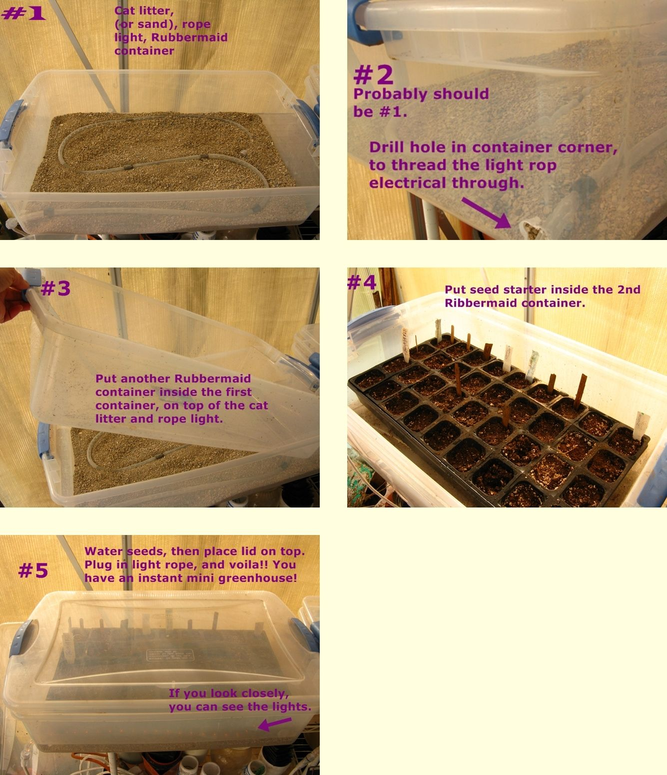 Here Is My Method For Starting Garden Seeds Early Also The Rope Light Should Be A Non Led Type Led S Don T Give Of Mini Greenhouse Garden Seeds Rope Light