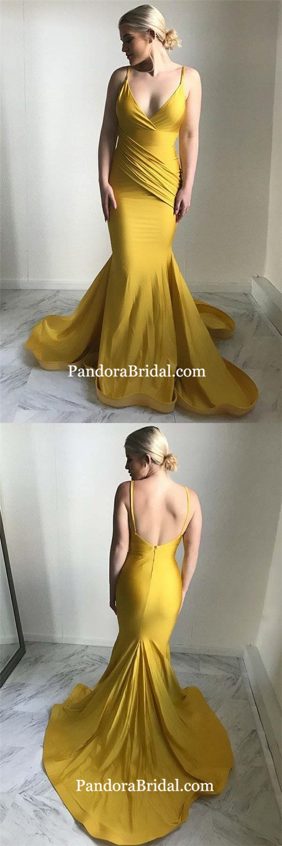 Charming yellow spaghetti straps open back with pleated long mermaid