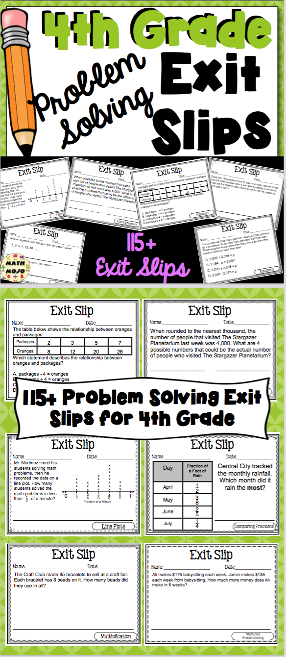 Th Grade Math Exit Slips Problem Solving  Formative Assessment