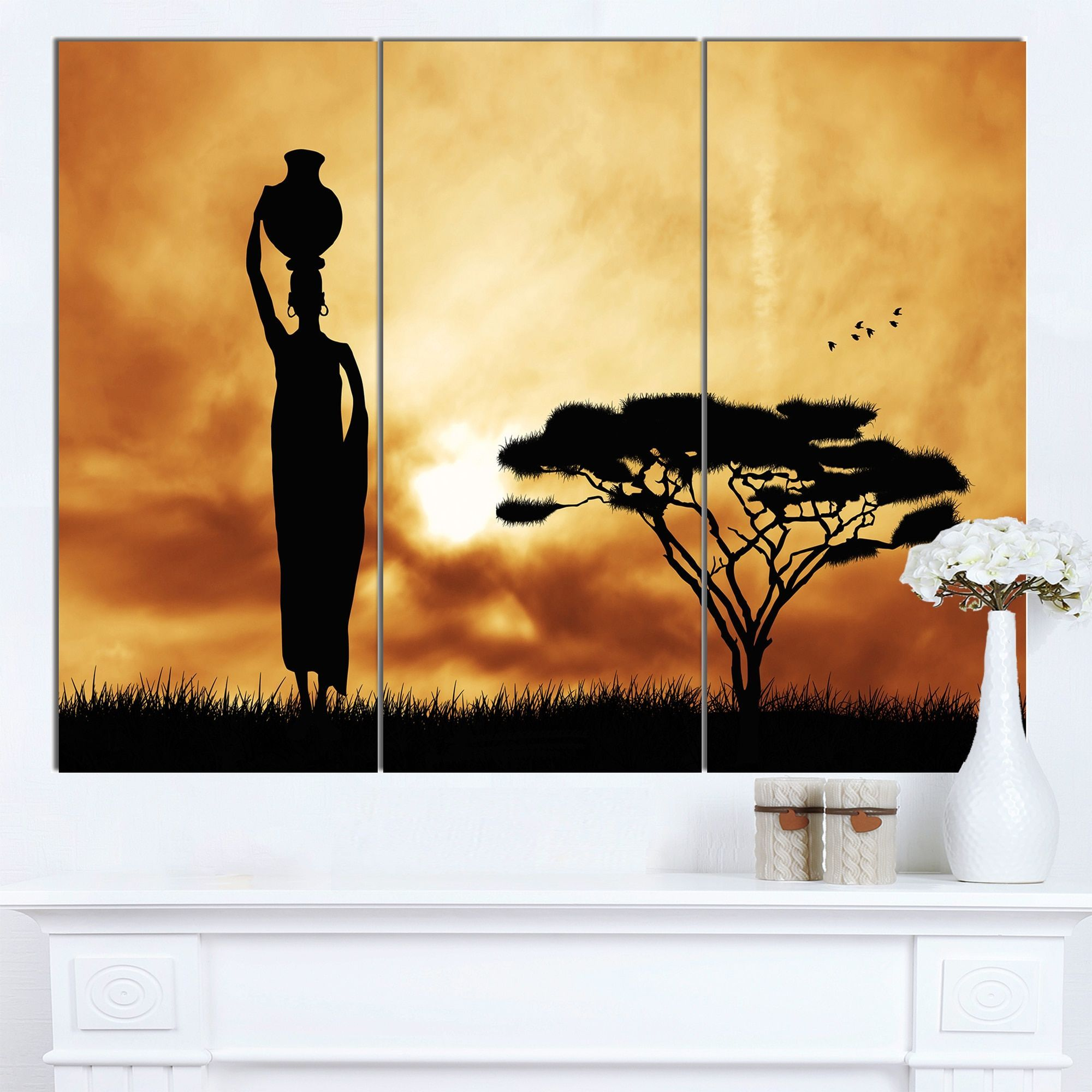 Designart \'African Woman and Lonely Tree\' Extra Large African ...