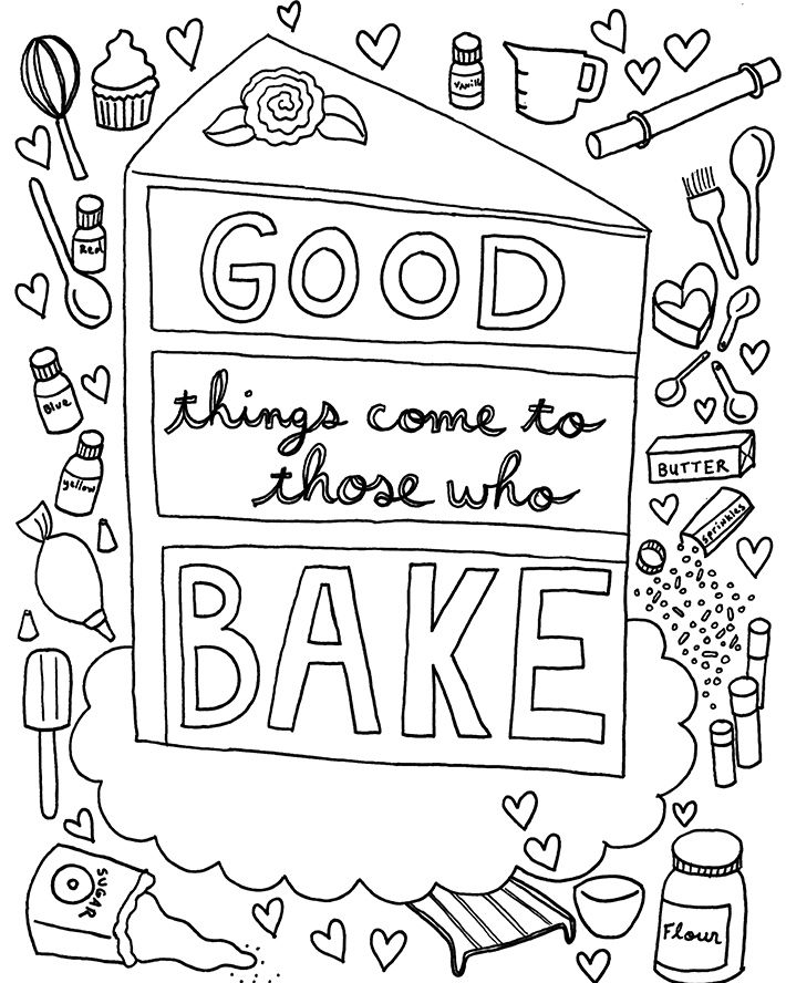 Download A FREE Coloring Book Page Designed Just For Cake Decorators
