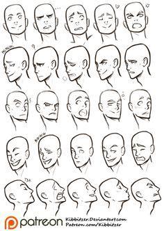 Facial Expressions Reference Sheet Kibbitzer On Patreon Drawing Expressions Facial Expressions Drawing Art Reference