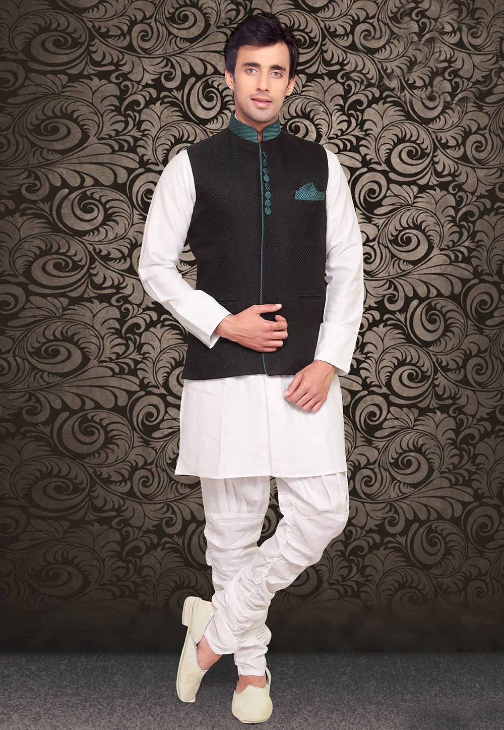 96c721dffd65c Charm everyone wearing this Readymade Nehru Jacket in Black This piece in  Art Jute Silk is highlighted with Moulded buttons Available with front  Pocket