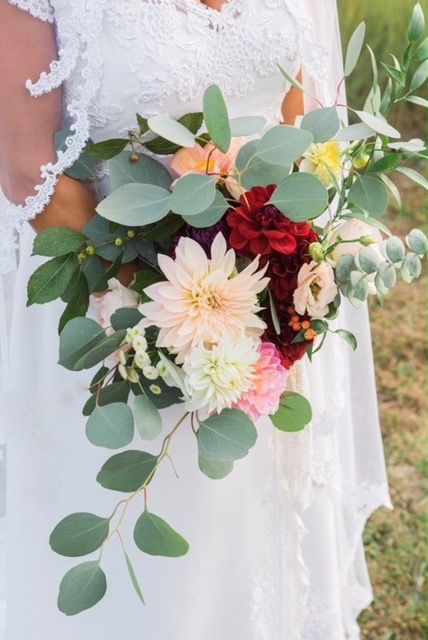 Naturalistic Freestyle Bridal Bouquet With Garden Dahlias And Mixed Greenery Wedding Reception Flowers Wedding Flowers Bridal Bouquet