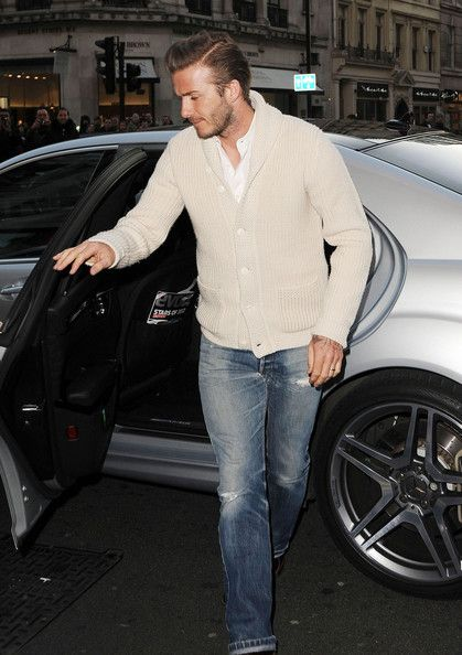 David Beckham Cardigan | Cream cardigan, Men's fashion and Man style