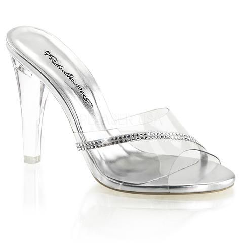WOMENS SILVER RHINESTONE LUCITE CLEAR SEXY SLIDES SANDALS HEELS SHOES SIZE 9 M