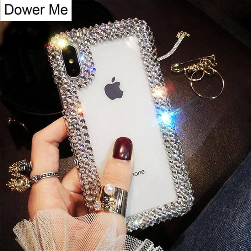 8fe921a6d50 Dower Me Luxury Fashion DIY Bling Crystal Diamond Edge Transparent Back Phone  Case Cover For iPhone X 8 7 6 6S Plus 5 5S SE 5C