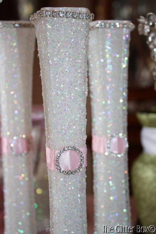 Wedding Glittered Centerpiece White Pink Eiffel Tower Bud Vase