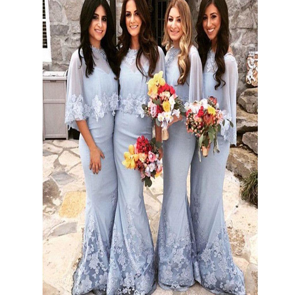 Elegant blue tulle shawl mermaid winter lace floor length wedding elegant blue tulle shawl mermaid winter lace floor length wedding party modest bridesmaid dress bd0215 ombrellifo Choice Image