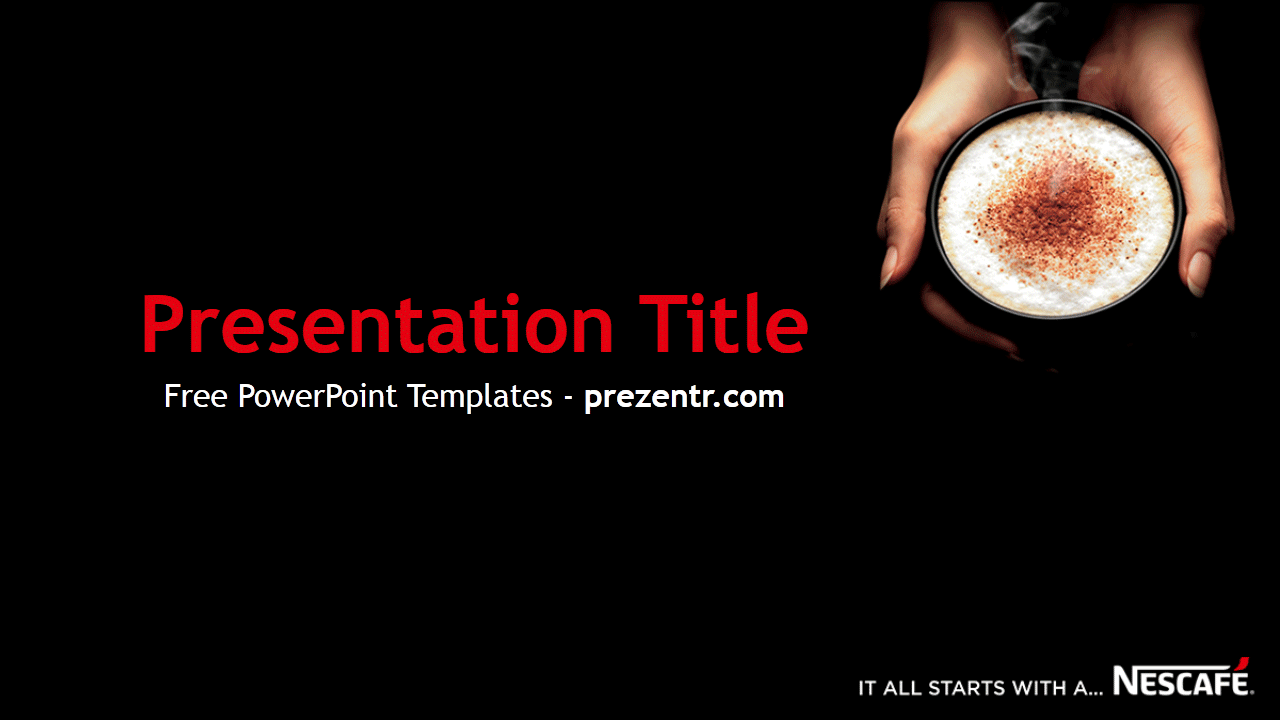 The Free Nescafe Powerpoint Template Has A Black Background With A