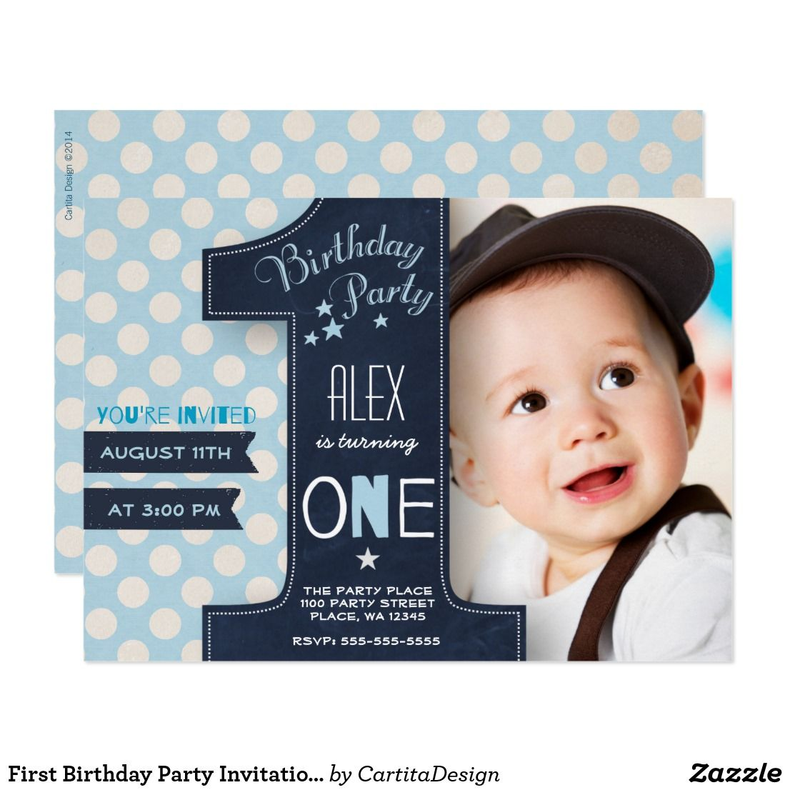 Modern Blue White Dot Black Chalkboard One First Invitation Zazzle Com 1st Birthday Party Invitations Baby Birthday Invitations 1st Birthday Invitations