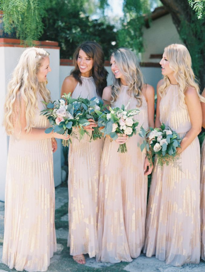 Classic Summer Wedding At The Adamson House Metallic Bridesmaid Dresses Champagne Bridesmaid Dresses Summer Wedding Dress