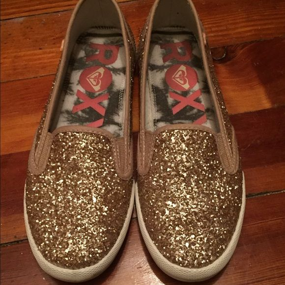 Gold sparkle Roxy shoes Slip-on, super cute, worn only once. Slight scuffing to soles (see pic), otherwise is new condition! Roxy Shoes Flats & Loafers