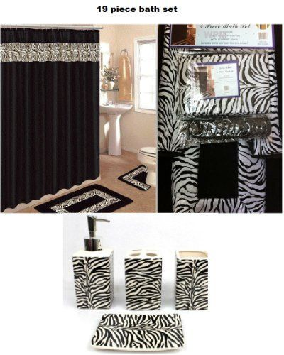 19 Piece Bath Accessory Set Black Zebra Animal Print Bath Rug Set