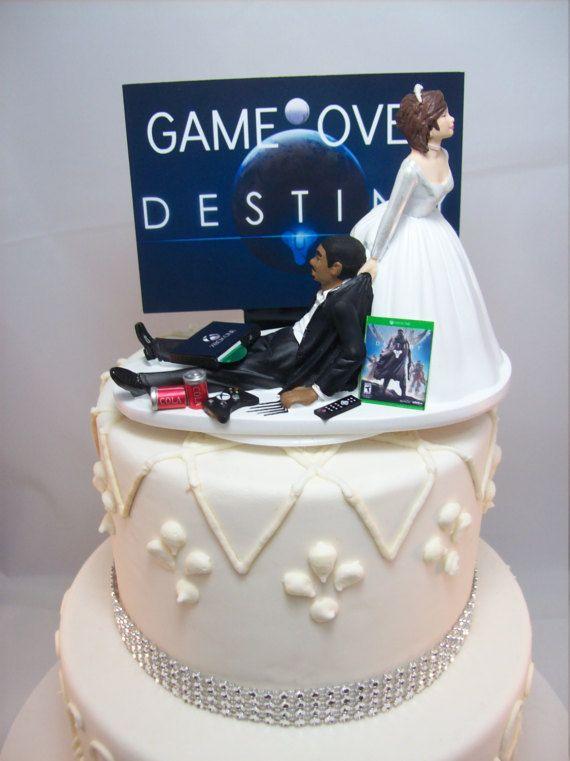Funny Wedding Cake Topper DEST Game Over Gamer Gaming ...