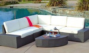 Bodega Outdoor Grey Wicker Sofa Set Deck Furniture