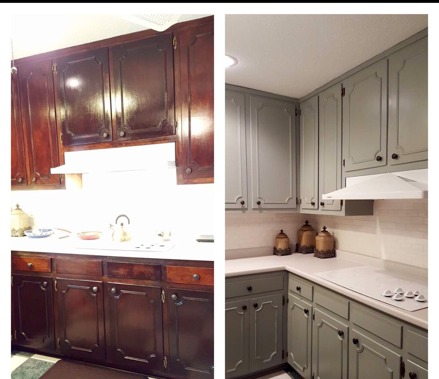 Before And After Kitchen Behr Sage Gray Paint Kitchen Remodel New Kitchen Pretty Kitchen Behr kitchen and bath paint