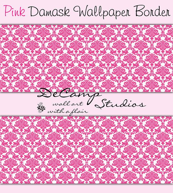 Best Pink Damask Wallpaper Border Wall Decals For Baby Girl 400 x 300