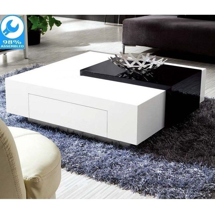 Endora Upside Down Drawer Coffee Table Black White Coffee Table White White Coffee Table Modern Coffee Table