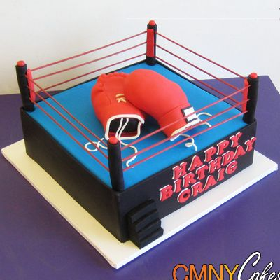 Craig S Boxing Gloves In Ring Cake Cmny Cakes Ring Cake Boxing Gloves Cake Sports Themed Cakes