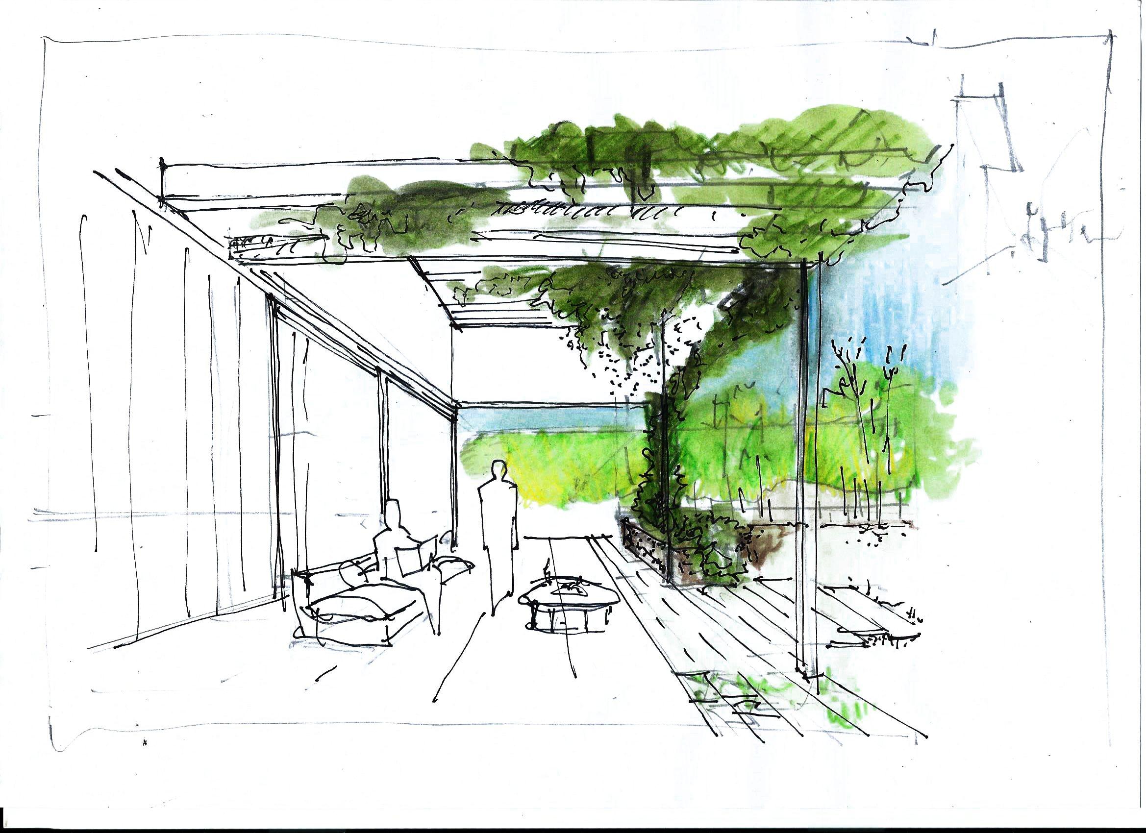 Croquis Con Un Solo Punto De Fuga Mostrando Un Espacio Exterior Interior Acnetuando El Verde Del Arquitectura De Paisaje Bocetos Arquitectonicos Punto De Fuga